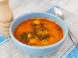 Постный гороховый суп с квашенными огурцами